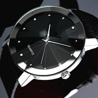 New Classic SINOBI Black Glass Leather Band Strap Man's Men's Quartz  Watch WristWatch