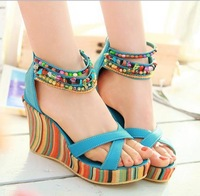 2014 New arrival multicolour beads chain bohemia ultra high heels. wedges sandals .back zipper platform women's shoes