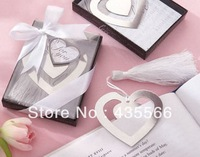 "Wedding Favor XMAS GIFT Love Story"" Silver-Finish Heart-Shaped Bookmark Wedding / Bridal Shower"