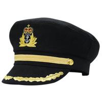 Wheat gold thread embroidery captain cap autumn and winter woolen vintage navy cap fashion cap adjustable cadet cap