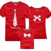 FREE SHIPPING 2013 family fashion summer family set short-sleeve necktie bow tendrils t-shirt