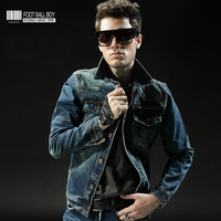 winter plus cotton thickening denim outerwear  slim short design men's clothing denim wadded-jacket clothes top