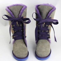 Wool and fur in one 5818 high front strap cow muscle outsole snow boots genuine leather boots
