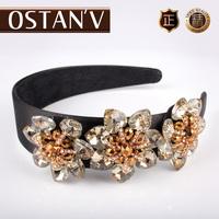 New arrival flower hair bands fashion luxury female fashion quality glass crystal hair pin headband hair accessory
