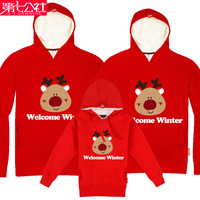 FREE SHIPPING 2013 family fashion winter christmas deer tendrils with a hood pullover plus velvet sweatshirt