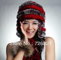 Sale New Real Knitted REX Rabbit Fur Hat Thick Wool Beanie Cap Ear Muff Warmer Headgear Ladies Hat With 2 Cute Fur Ball