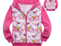Hello Kitty Children's clothing 100% cotton with a hood sweatshirt zipper long-sleeve outerwear cardigan jacket a01