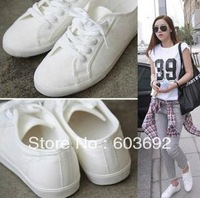 Free Shipping - 2014 fashion white Ms. canvas shoes women shoes Sneakers single shoe