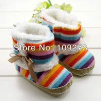 3 Pair/lot Rainbow Colors Lovely New Baby Girls Boys Snow Boots Warm Toddler Winter Windproof Cute Kids' First Warkers Shoes