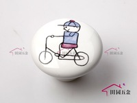 Cartoon Cute Handle Boy and Bicycle Door Cabinet Drawer Ceramic Knob Pulls MBS038-3