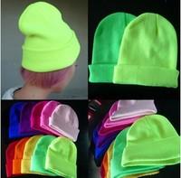 Free Shipping Hot Sale 2013 Fashion Knitted Neon Women Beanie Girls Autumn Casual 28 Colors Cap Women's Hats Unisex JP122101(1)