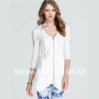 Free shipping new lady Slim Sleeve white stretch knit hooded zipper jacket XS - XXL