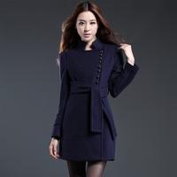 Winter Fashion Slim woolen Outerwear winter navy blue belt Woolen Coat 2013 Women  Long Jackets Female Parka Large Size