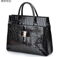 Fashion PU CROCO Handbag Women ultra-large capacity BB242