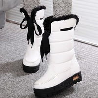 Autumn and winter comfortable boots platform shoes platform double strap slip-resistant medium-leg boots waterproof snow boots