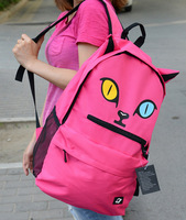 Cute Fashion Cat Pattern Zipper Nylon Unisex College Backpack One Color Bag