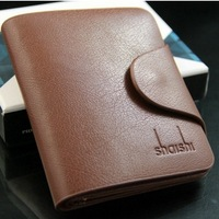 4colors Vertical Cowhide wallet,Men's genuine leather wallet, three fold card bag, High-grade wallet for men whosale price