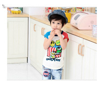 2013 new cotton 5pcs/lot baby T shirt 2 color Smiley cartoon  summer girls T shirt wholease free shipping