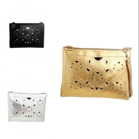Women Lady Fashion Ethnic Hollow Out Faux Leather Clutch Bag Envelope Bag Cross-body Bag