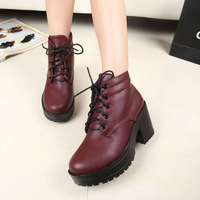 2013 autumn and winter high-heeled platform shoes wedges round toe platform thick heel platform women's shoes lacing boots
