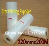 Glossy Hot roll laminating film 3rolls for laminator 320mmx200M/roll(China (Mainland))