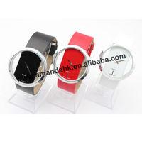 100pcs/lot  Exquisite Hollow Dial Leather Watch For woman,Ladies Transparent Quartz  Wristwatch Leather Strap Dress Watches