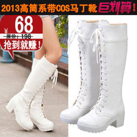 Cosplay shoes cool punk lacing martin boots black white
