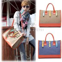 2014 New  Elegant Sweet Lovely Ladies Handbag Women Shoulder Bags Joining Together Blue Beige Big  Clutch Bolsas Gift Totes