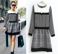 2013 new fashion women one thousand birds grid long-sleeved vintage dress , European and American fashion casual cotton dress