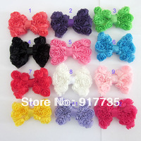 Free shipping!   Big Rose Bows Shabby Chiffon Bows for Baby Headband mixed 8cm  20pc/lot Girl Headband Hair Accessories