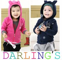 Children Jacket Autumn Clothes 2014 New boys girls Outerwear Coat Thick Clothes Kids Hoodie clothes 2 Color Free shipping