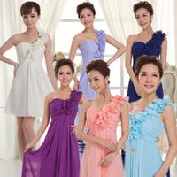 Free Shipping 2014  bridesmaid dress  short design bridesmaid dinner long design dress one shoulder