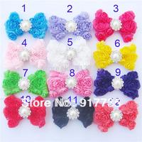 Free shipping!  7.5cm 20pcs/Lot Mixed Shabby Chiffon Rose Flwoer Bow Headbands Toddler Baby Hair Bow Headbands