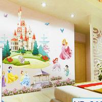 Free Shipping Retail Huge Princess Castle Removable 3D DIY PVC Cartoon Wall Sticker/Art Wall Decal Home Decor
