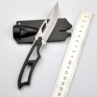10PCS/LOT Survival Knife SW SW990 Sentinel Steel Knife (Whistle Knife) Hunting Free Shipping--Silver