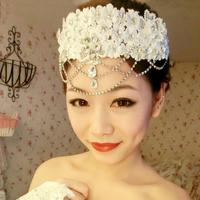 Special Bridal Rhinestone crystal lace headpiece Adjustable forehead band Tiara free shipping