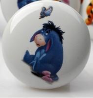 Lovely Donkey Cartoon Cute Handle Animals Door Cabinet Drawer Ceramic Knob Pulls MBS048-3