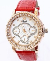 2014 Hot sale fashion crystal rhinestone leather strap watch fake three dial analog casual women dress watches13.8