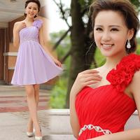 One shoulder summer chiffon flower skirt 2013 bubble princess design short formal dress evening formal dress evening dress