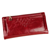 The new woman leather wallet purse women's long oil wax zip purse