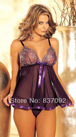 Purple Black Plus Size S M L XL XXL XXXL XXXXL 2XL 3XL 4XL Sexy Lingerie Babydoll Brocade Sequin Chemise Short Gown Dress 8057