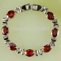 Wholesale Fabulous Jewelry Oval Cut Garnet  Silver Bracelets  Fashion  Jewelry For Women Nice Gift Free Shipping