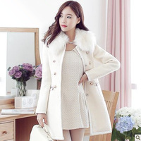 2014 new Woolen outerwear overcoat  autumn and winter women luxurious fur collar slim cashmere wool female