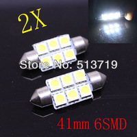 wholesale 2pcs 41mm 5050 SMD 6 LED Festoon Dome Car Light auto door Lamp instrument Bulb pathway lighting White 12V work lamp