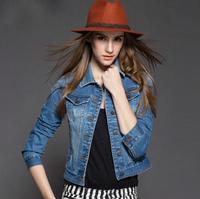 New spring summer 2015 Plus size vintage cropped denim jacket long-sleeve cardigan casacos femininos coat jeans jackets women