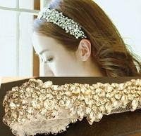 Bling Fashion Women Girl Silver Plated Imitation Crystal Flower Elastic Hair Band HeadbandFree Shipping