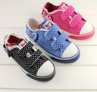 2013 WARRIOR autumn children shoes medium-large female child lace polka dot princess 1755 casual canvas shoes