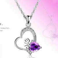 S925 pure silver jewelry design necklace female short amethyst pendant fashion all-match
