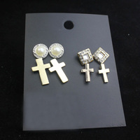 new 2013 gold jewelry sets fashion hot pearl Gold cross pearls crystals stud earring free shipping E243