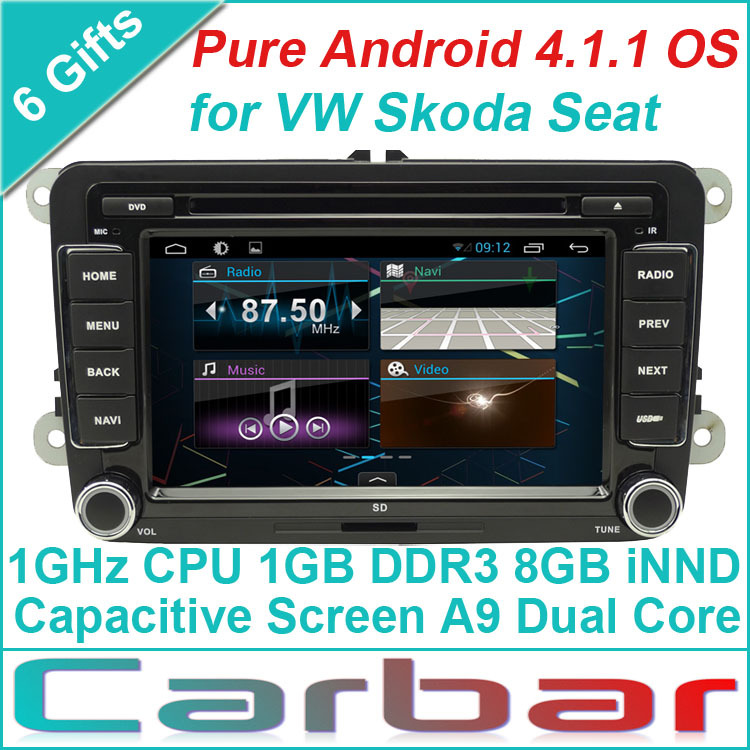 Pure Android 4.4.1 Car DVD GPS Player for VW Vlokswagen Skoda Seat Russian Menu Capacitive Screen Car Audio Radio Navigation(China (Mainland))